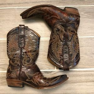 Old Gringo Brown Leather Embroidered Boots